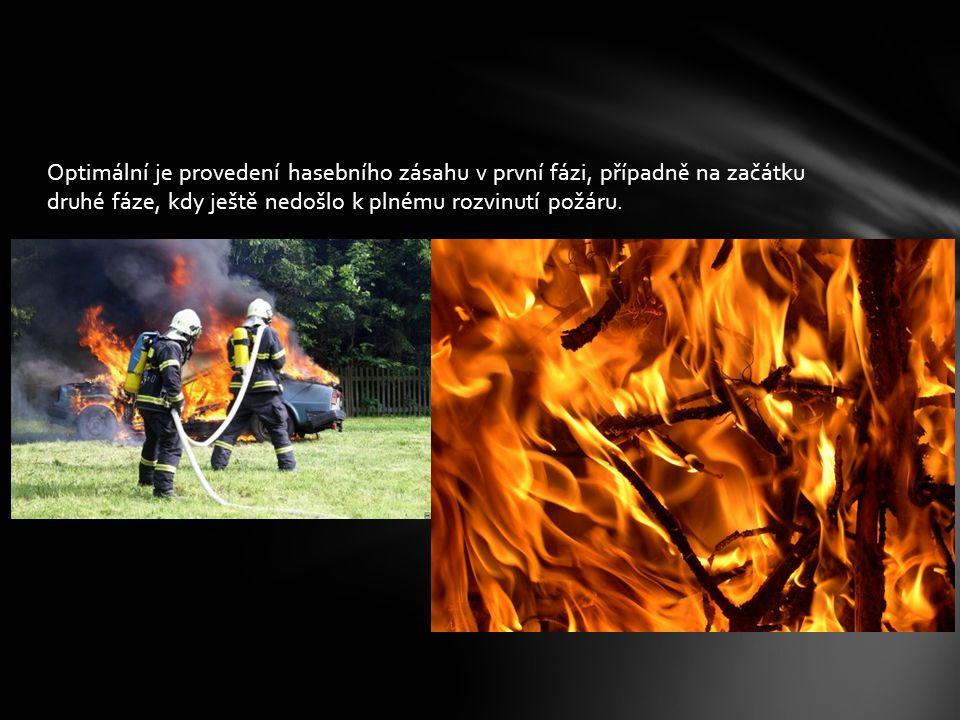Optimální je provedení hasebního zásahu v první fázi, případně na začátku druhé fáze, kdy ještě nedošlo k plnému rozvinutí požáru.