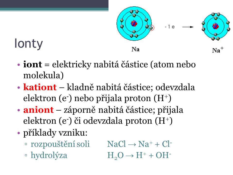 Ionty iont = elektricky nabitá částice (atom nebo molekula) kationt – kladně nabitá částice; odevzdala elektron (e - ) nebo přijala proton (H + ) aniont – záporně nabitá částice; přijala elektron (e - ) či odevzdala proton (H + ) příklady vzniku: ▫rozpouštění soliNaCl → Na + + Cl - ▫hydrolýzaH 2 O → H + + OH -