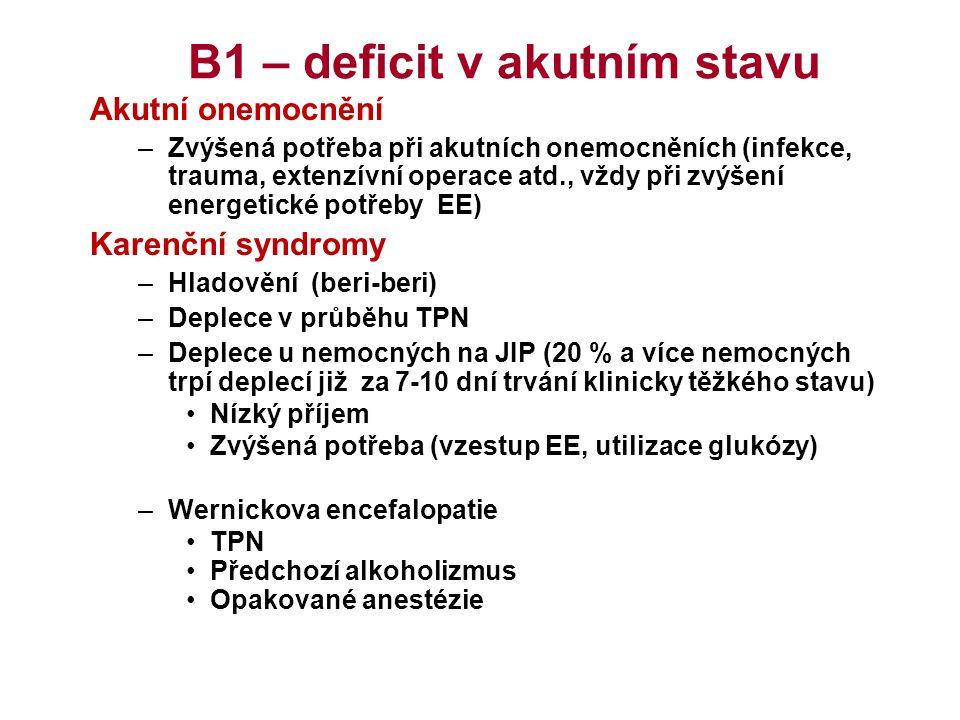 B1 – deficit v akutním stavu Akutní onemocnění –Zvýšená potřeba při akutních onemocněních (infekce, trauma, extenzívní operace atd., vždy při zvýšení