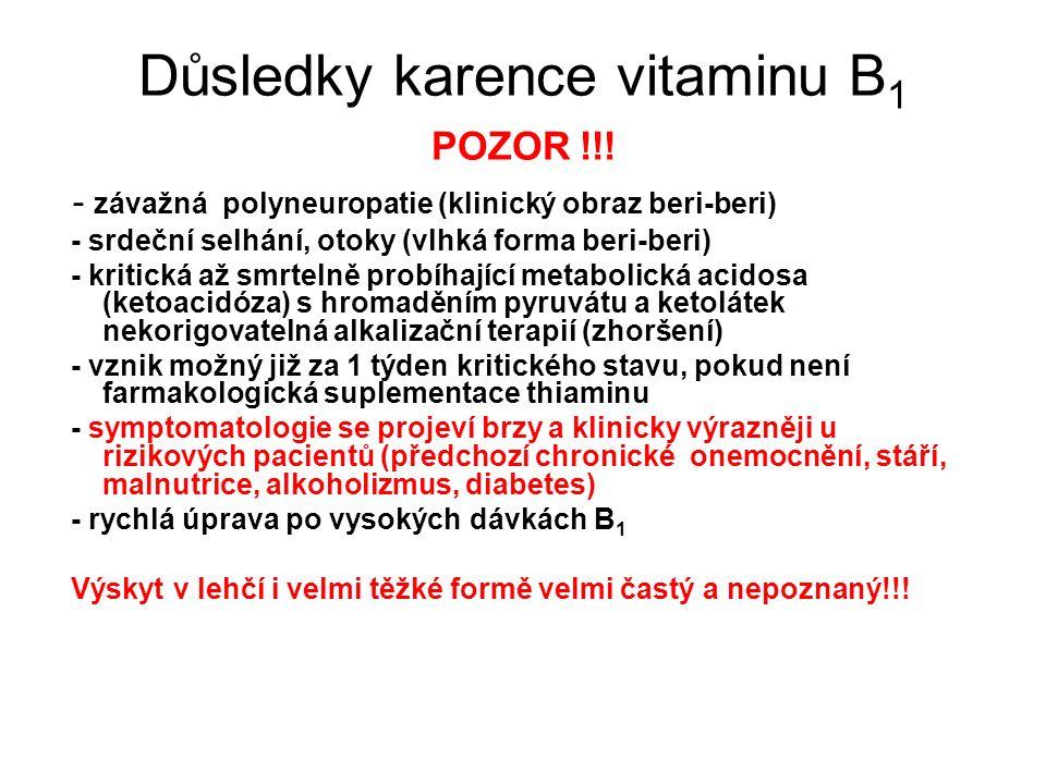 Důsledky karence vitaminu B 1 POZOR !!! - závažná polyneuropatie (klinický obraz beri-beri) - srdeční selhání, otoky (vlhká forma beri-beri) - kritick