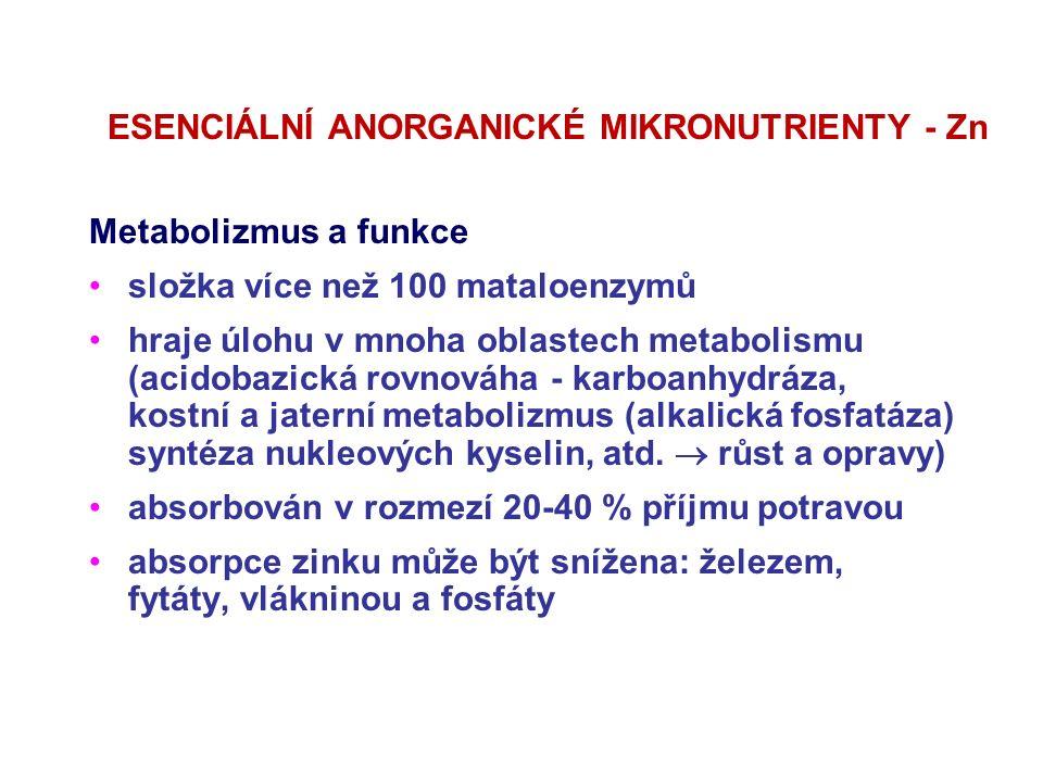 ESENCIÁLNÍ ANORGANICKÉ MIKRONUTRIENTY - Zn Metabolizmus a funkce složka více než 100 mataloenzymů hraje úlohu v mnoha oblastech metabolismu (acidobazi
