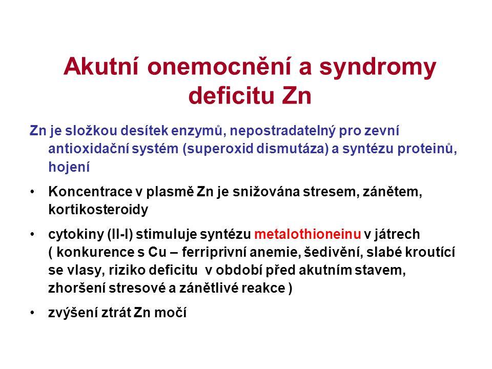 Akutní onemocnění a syndromy deficitu Zn Zn je složkou desítek enzymů, nepostradatelný pro zevní antioxidační systém (superoxid dismutáza) a syntézu p