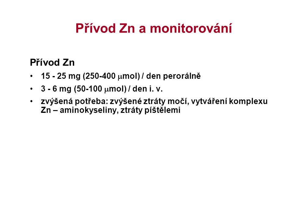 Přívod Zn a monitorování Přívod Zn 15 - 25 mg (250-400  mol) / den perorálně 3 - 6 mg (50-100  mol) / den i. v. zvýšená potřeba: zvýšené ztráty močí