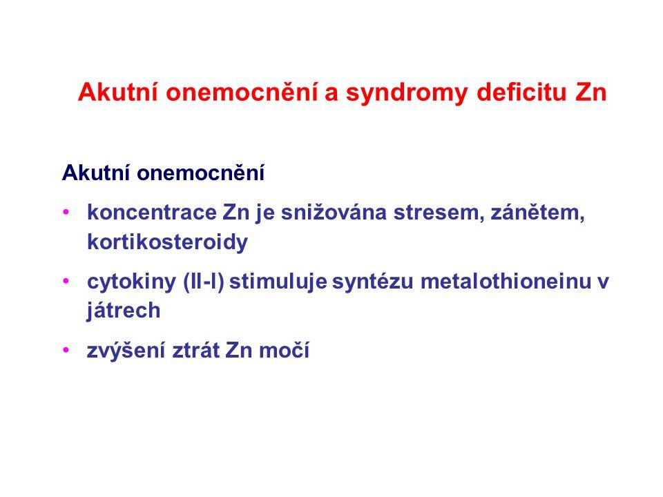 Akutní onemocnění a syndromy deficitu Zn Akutní onemocnění koncentrace Zn je snižována stresem, zánětem, kortikosteroidy cytokiny (Il-l) stimuluje syn