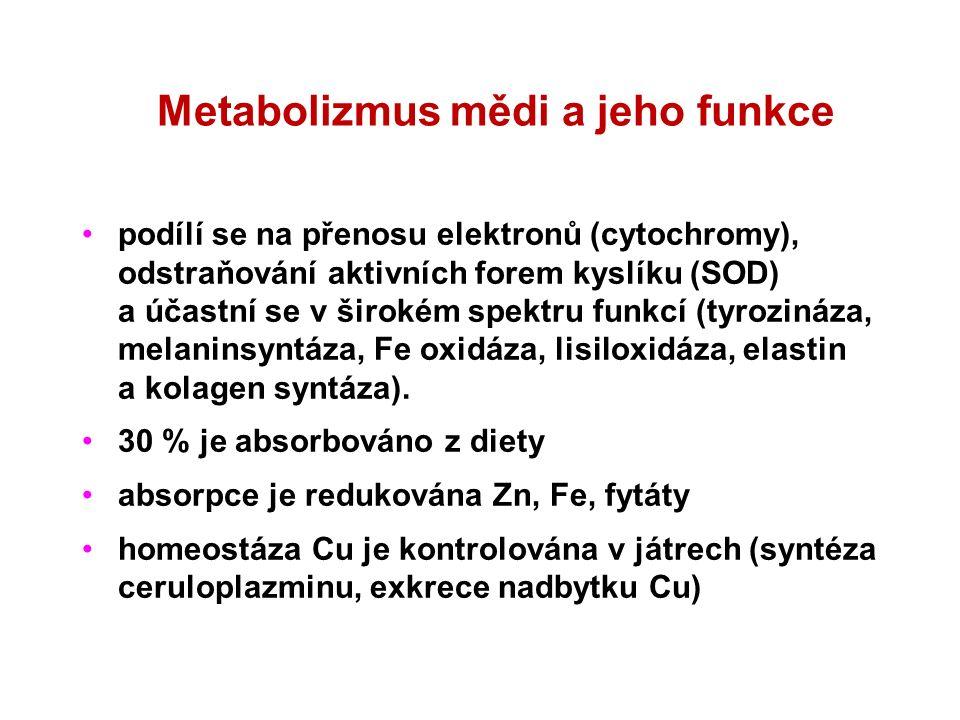 Metabolizmus mědi a jeho funkce podílí se na přenosu elektronů (cytochromy), odstraňování aktivních forem kyslíku (SOD) a účastní se v širokém spektru