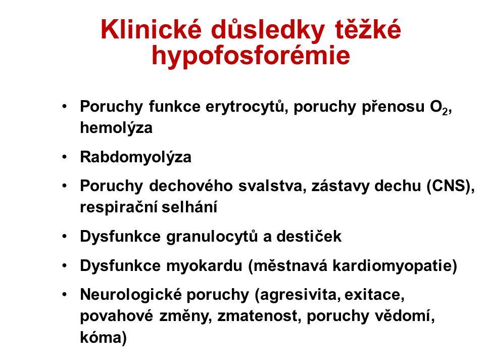 Klinické důsledky těžké hypofosforémie Poruchy funkce erytrocytů, poruchy přenosu O 2, hemolýza Rabdomyolýza Poruchy dechového svalstva, zástavy dechu