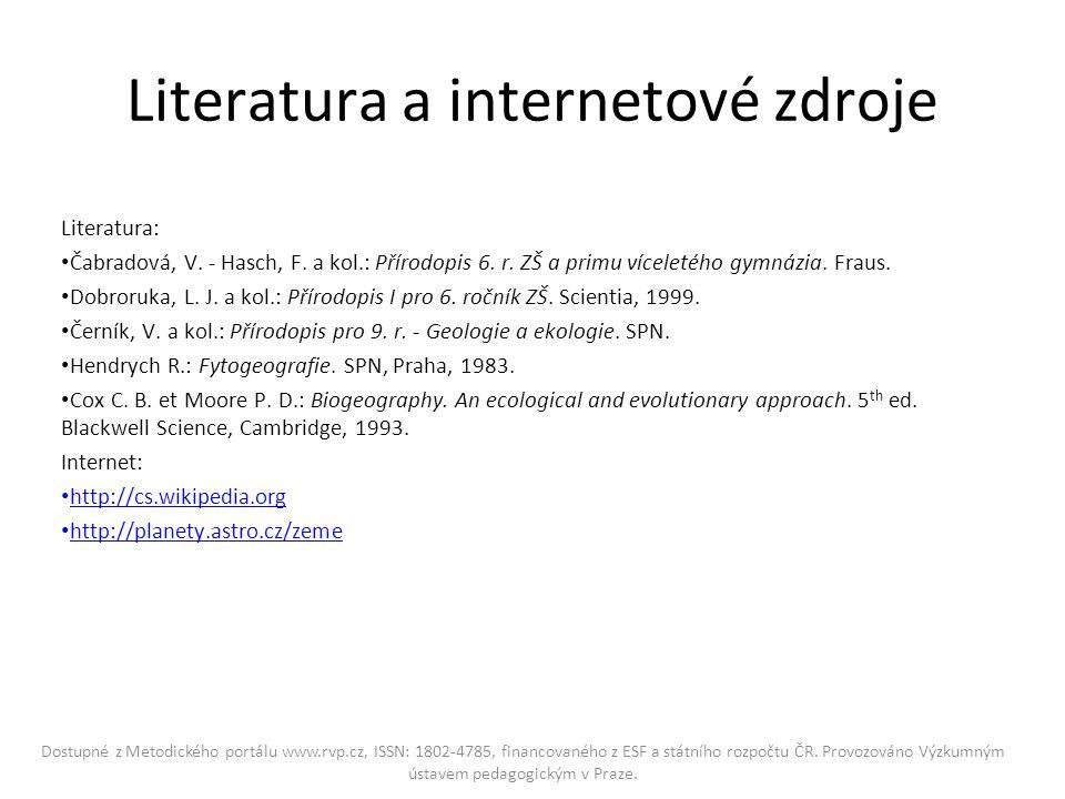 Literatura a internetové zdroje Literatura: Čabradová, V.