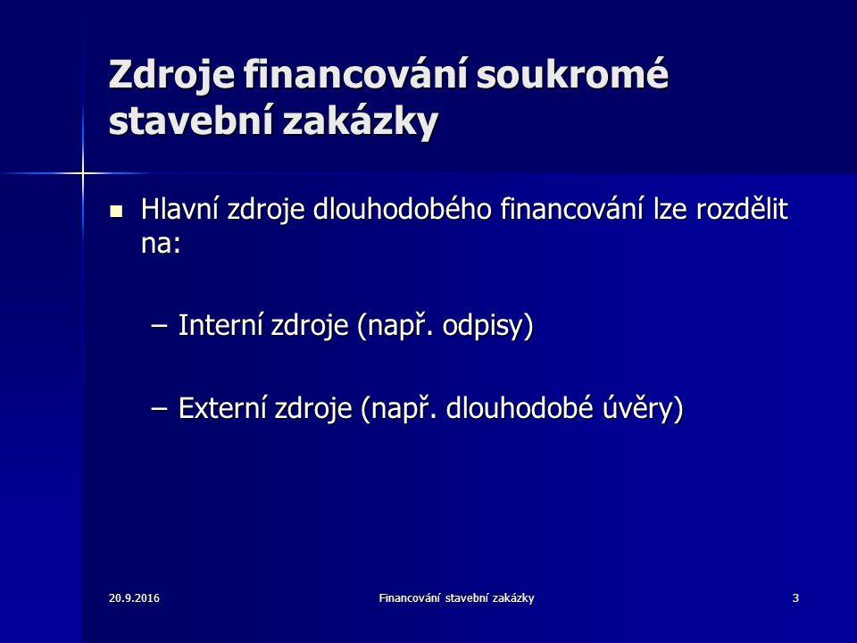 20.9.2016Financování stavební zakázky4 Interní zdroje financování je též nazýváno jako samofinancování je též nazýváno jako samofinancování většinou tvoří rozhodující podíl na financování investic do fixního majetku většinou tvoří rozhodující podíl na financování investic do fixního majetku Mezi interní zdroje patří: Mezi interní zdroje patří: –Nerozdělený zisk –Odpisy –Dlouhodobé rezervy