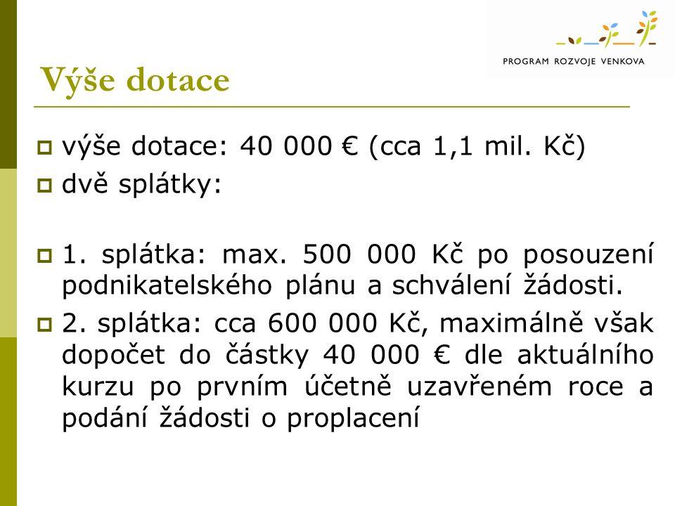 Výše dotace  výše dotace: 40 000 € (cca 1,1 mil.Kč)  dvě splátky:  1.
