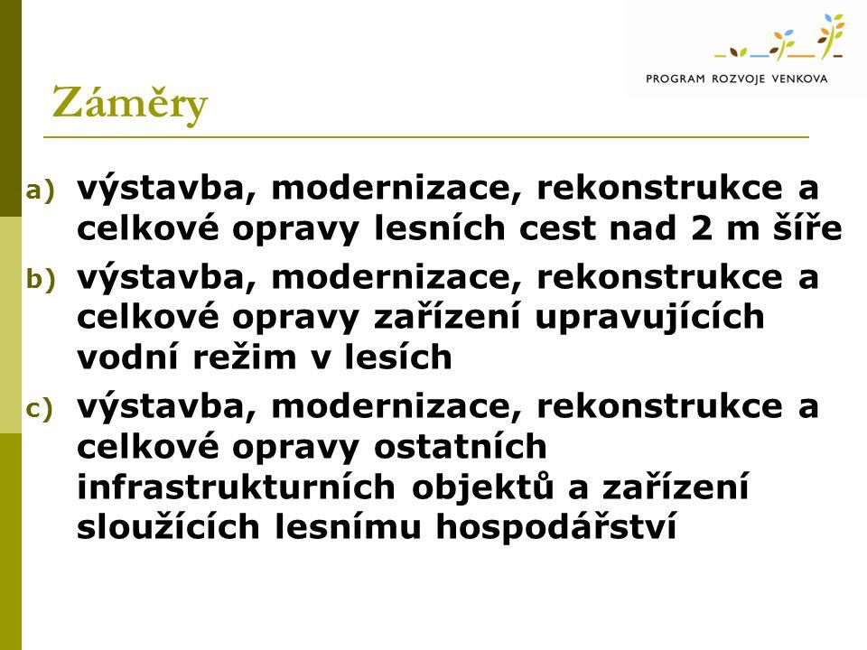 Záměry a) výstavba, modernizace, rekonstrukce a celkové opravy lesních cest nad 2 m šíře b) výstavba, modernizace, rekonstrukce a celkové opravy zařízení upravujících vodní režim v lesích c) výstavba, modernizace, rekonstrukce a celkové opravy ostatních infrastrukturních objektů a zařízení sloužících lesnímu hospodářství