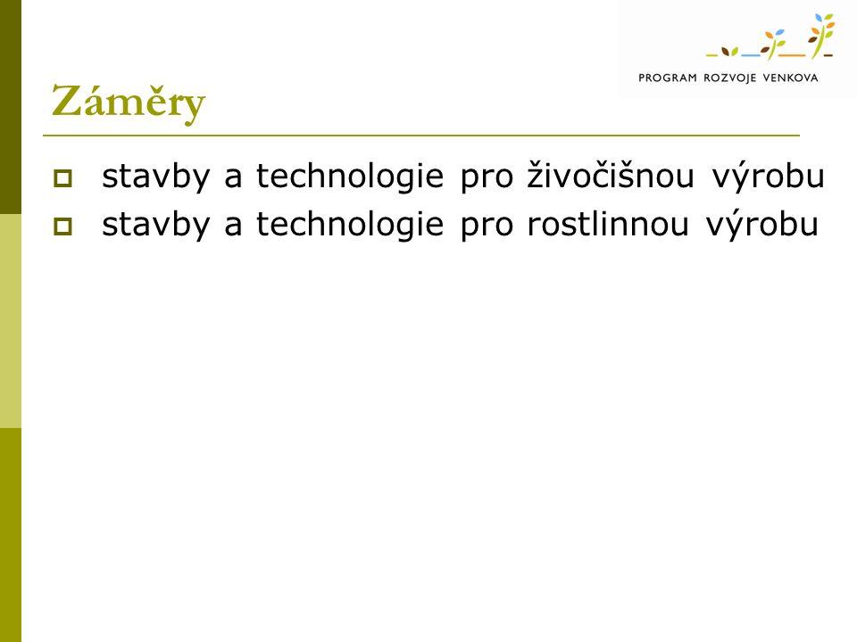 Záměry  stavby a technologie pro živočišnou výrobu  stavby a technologie pro rostlinnou výrobu