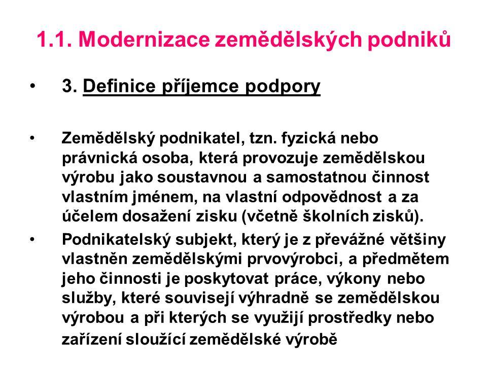 1.1. Modernizace zemědělských podniků 3. Definice příjemce podpory Zemědělský podnikatel, tzn.
