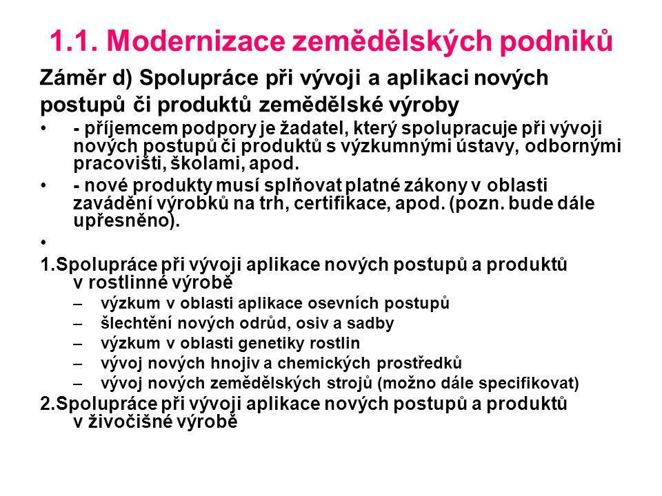 1.1. Modernizace zemědělských podniků Záměr d) Spolupráce při vývoji a aplikaci nových postupů či produktů zemědělské výroby - příjemcem podpory je ža