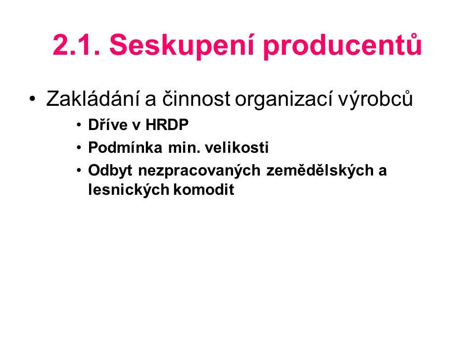 2.1. Seskupení producentů Zakládání a činnost organizací výrobců Dříve v HRDP Podmínka min.