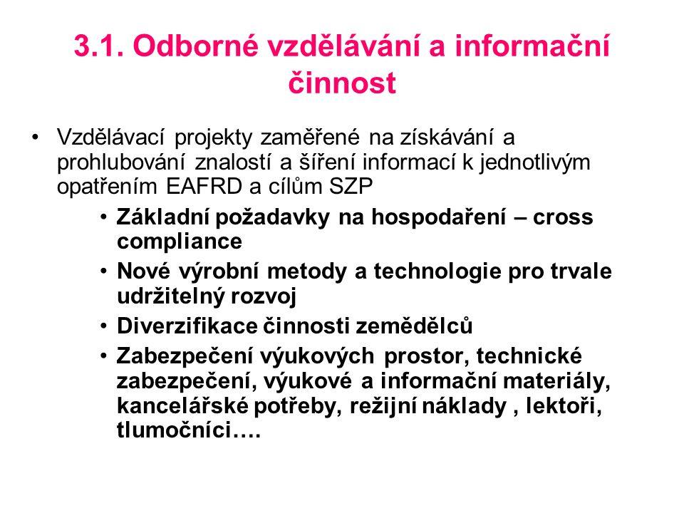 3.1. Odborné vzdělávání a informační činnost Vzdělávací projekty zaměřené na získávání a prohlubování znalostí a šíření informací k jednotlivým opatře