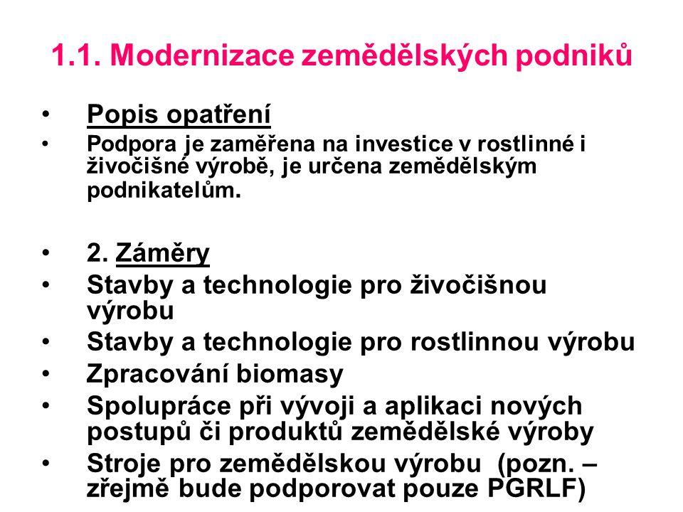 1.1.Modernizace zemědělských podniků 3. Definice příjemce podpory Zemědělský podnikatel, tzn.