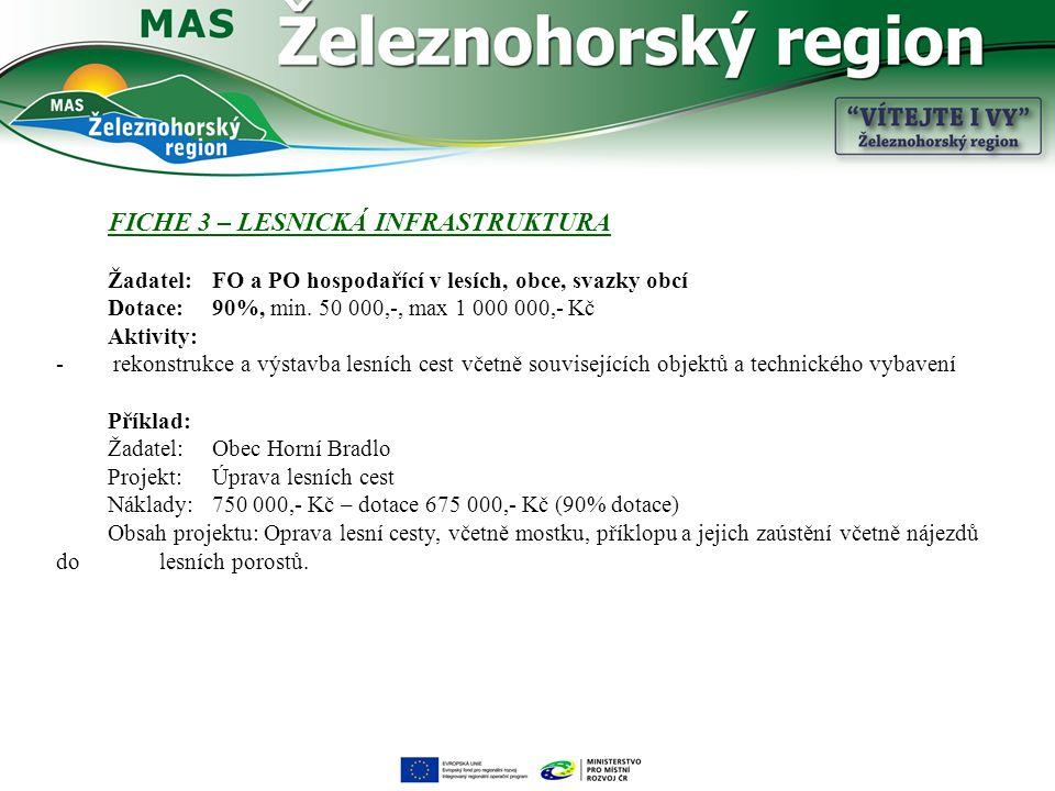 FICHE 3 – LESNICKÁ INFRASTRUKTURA Žadatel: FO a PO hospodařící v lesích, obce, svazky obcí Dotace: 90%, min.