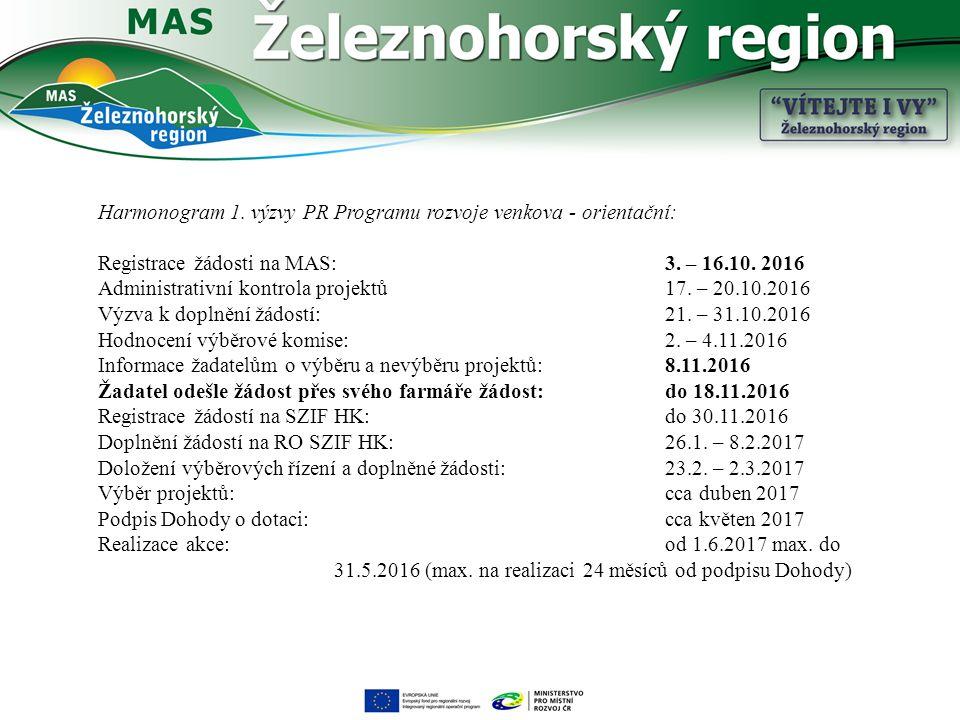 Harmonogram 1. výzvy PR Programu rozvoje venkova - orientační: Registrace žádosti na MAS: 3.