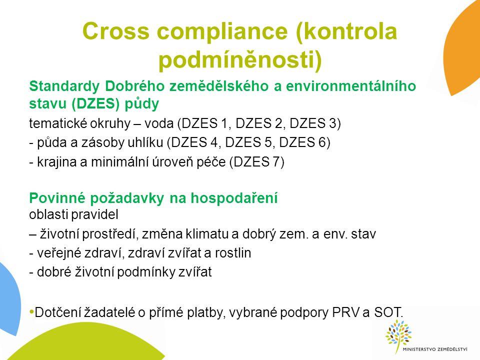 Cross compliance (kontrola podmíněnosti) Standardy Dobrého zemědělského a environmentálního stavu (DZES) půdy tematické okruhy – voda (DZES 1, DZES 2, DZES 3) - půda a zásoby uhlíku (DZES 4, DZES 5, DZES 6) - krajina a minimální úroveň péče (DZES 7) Povinné požadavky na hospodaření oblasti pravidel – životní prostředí, změna klimatu a dobrý zem.