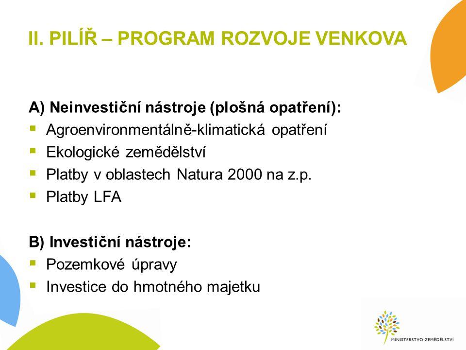 II. PILÍŘ – PROGRAM ROZVOJE VENKOVA A) Neinvestiční nástroje (plošná opatření):  Agroenvironmentálně-klimatická opatření  Ekologické zemědělství  P
