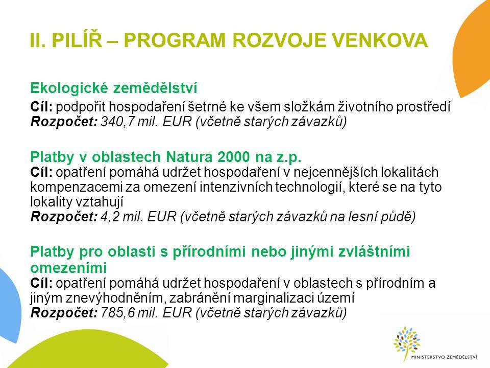 II. PILÍŘ – PROGRAM ROZVOJE VENKOVA Ekologické zemědělství Cíl: podpořit hospodaření šetrné ke všem složkám životního prostředí Rozpočet: 340,7 mil. E