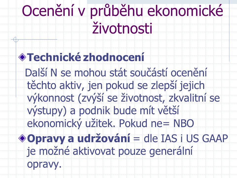 Ocenění v průběhu ekonomické životnosti Technické zhodnocení Další N se mohou stát součástí ocenění těchto aktiv, jen pokud se zlepší jejich výkonnost (zvýší se životnost, zkvalitní se výstupy) a podnik bude mít větší ekonomický užitek.