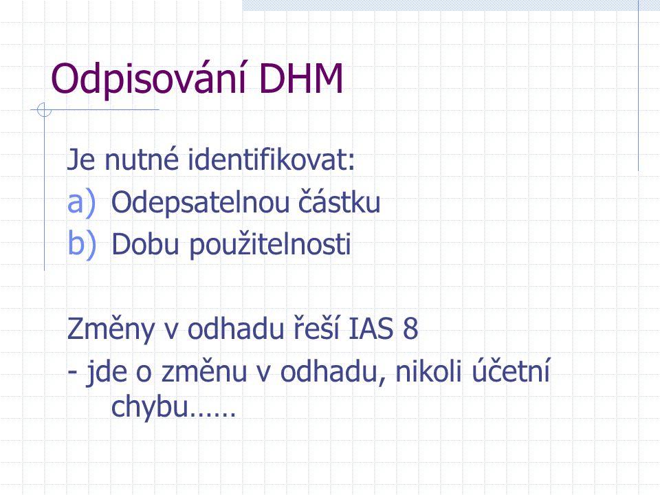 Odpisování DHM Je nutné identifikovat: a) Odepsatelnou částku b) Dobu použitelnosti Změny v odhadu řeší IAS 8 - jde o změnu v odhadu, nikoli účetní ch