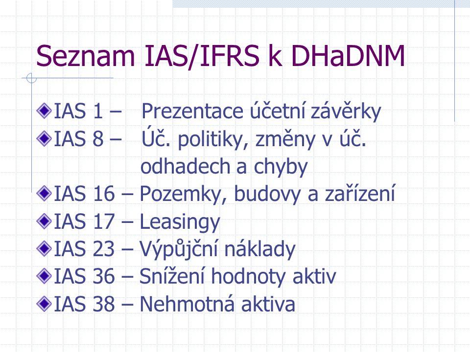Seznam IAS/IFRS k DHaDNM IAS 1 – Prezentace účetní závěrky IAS 8 – Úč.