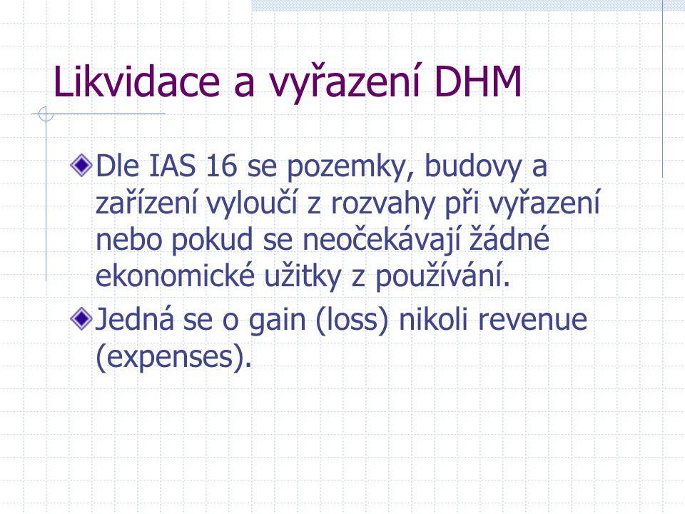 Likvidace a vyřazení DHM Dle IAS 16 se pozemky, budovy a zařízení vyloučí z rozvahy při vyřazení nebo pokud se neočekávají žádné ekonomické užitky z používání.