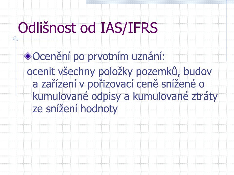 Odlišnost od IAS/IFRS Ocenění po prvotním uznání: ocenit všechny položky pozemků, budov a zařízení v pořizovací ceně snížené o kumulované odpisy a kumulované ztráty ze snížení hodnoty