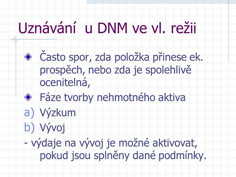 Uznávání u DNM ve vl. režii Často spor, zda položka přinese ek.