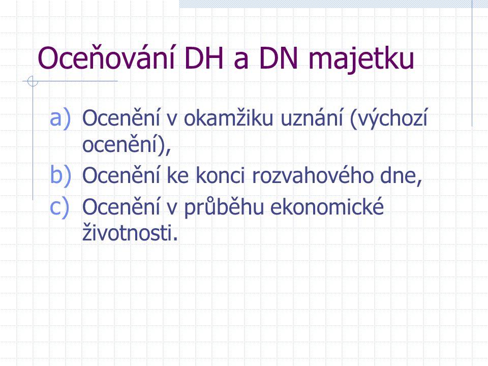 Oceňování DH a DN majetku a) Ocenění v okamžiku uznání (výchozí ocenění), b) Ocenění ke konci rozvahového dne, c) Ocenění v průběhu ekonomické životno