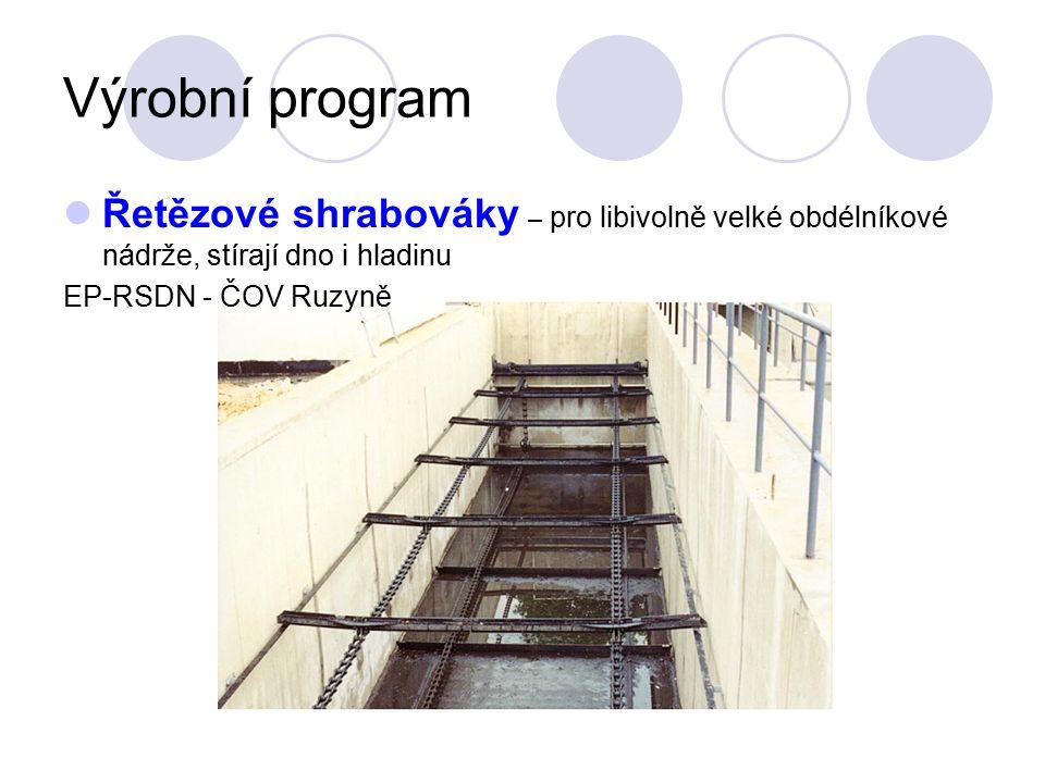 Výrobní program Řetězové shrabováky – pro libivolně velké obdélníkové nádrže, stírají dno i hladinu EP-RSDN - ČOV Ruzyně