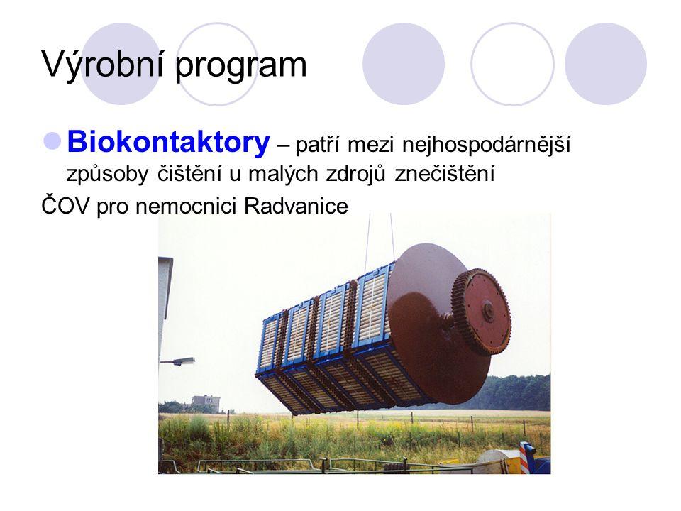 Výrobní program Biokontaktory – patří mezi nejhospodárnější způsoby čištění u malých zdrojů znečištění ČOV pro nemocnici Radvanice