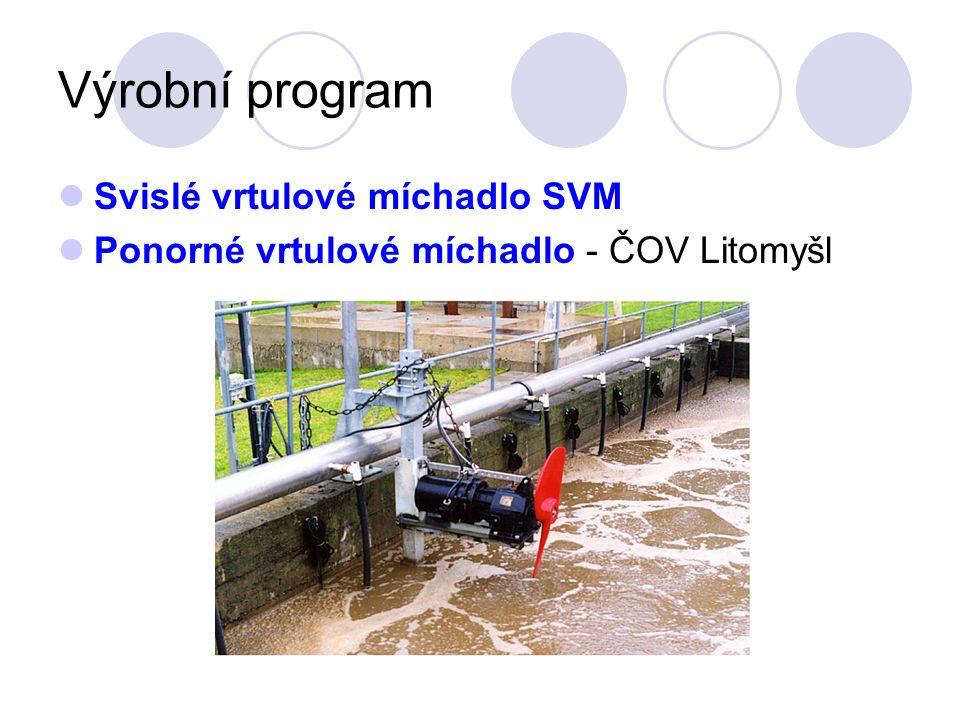 Výrobní program Svislé vrtulové míchadlo SVM Ponorné vrtulové míchadlo - ČOV Litomyšl