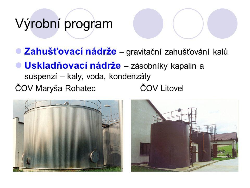Výrobní program Zahušťovací nádrže – gravitační zahušťování kalů Uskladňovací nádrže – zásobníky kapalin a suspenzí – kaly, voda, kondenzáty ČOV Maryš
