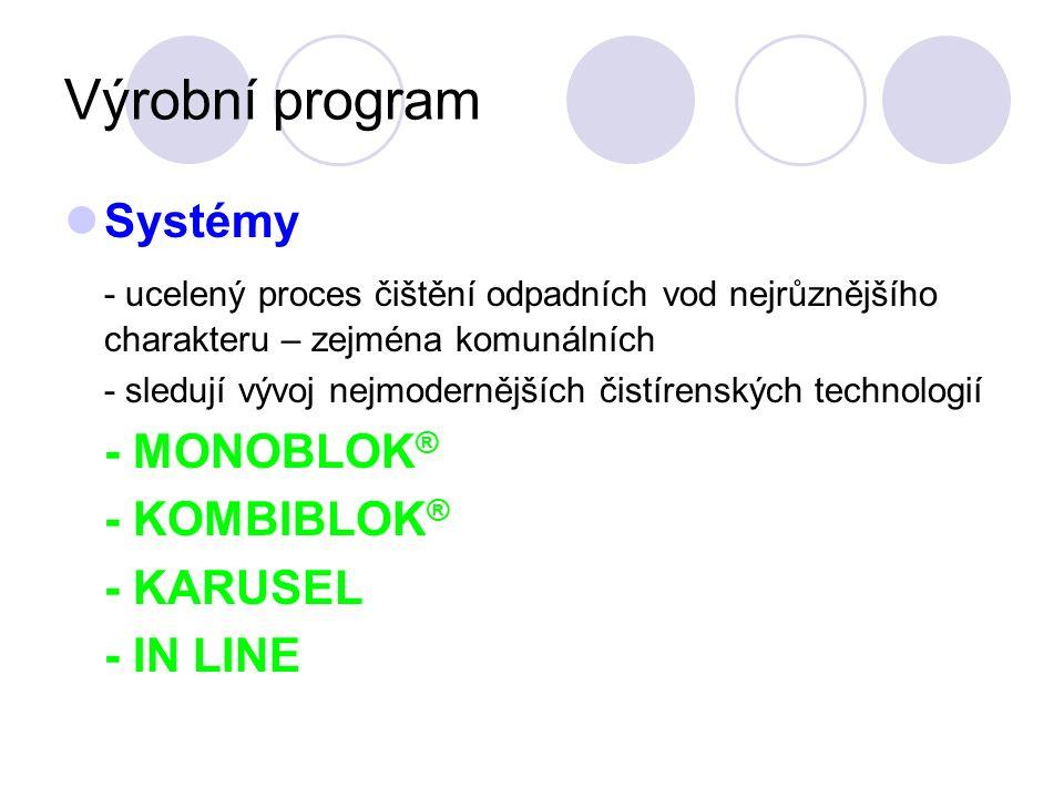 Výrobní program Systémy - ucelený proces čištění odpadních vod nejrůznějšího charakteru – zejména komunálních - sledují vývoj nejmodernějších čistírenských technologií - MONOBLOK ® - KOMBIBLOK ® - KARUSEL - IN LINE
