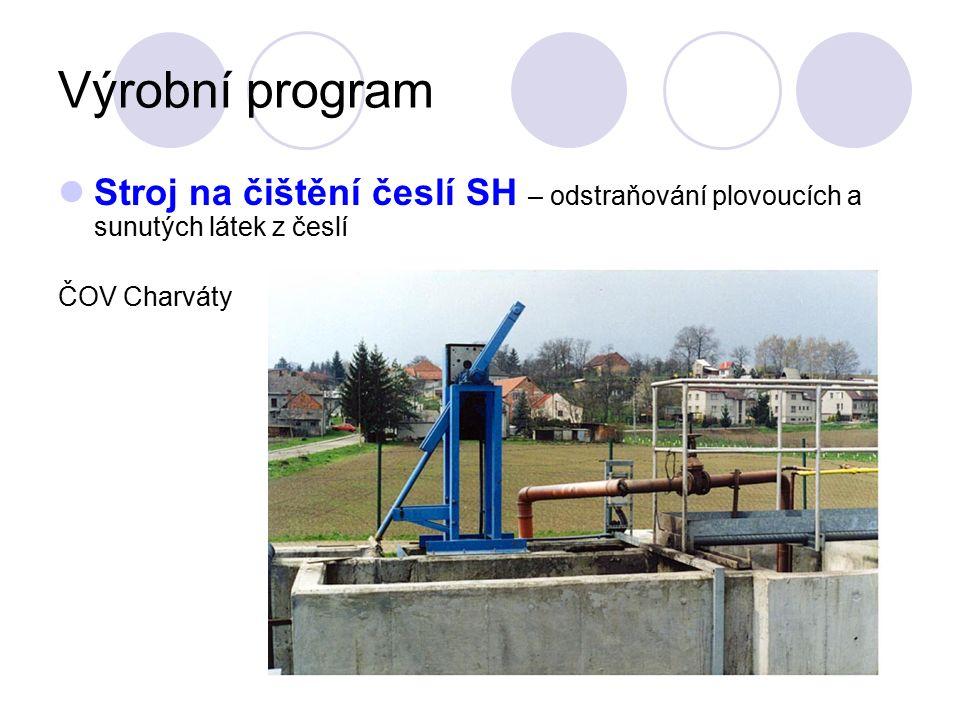 Výrobní program Stroj na čištění česlí SH – odstraňování plovoucích a sunutých látek z česlí ČOV Charváty