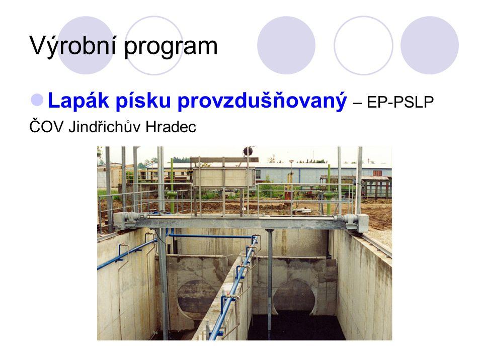 Výrobní program Lapák písku provzdušňovaný – EP-PSLP ČOV Jindřichův Hradec