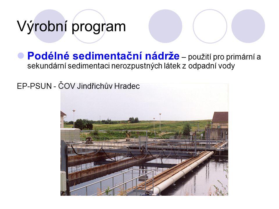 Výrobní program Podélné sedimentační nádrže – použití pro primární a sekundární sedimentaci nerozpustných látek z odpadní vody EP-PSUN - ČOV Jindřichů