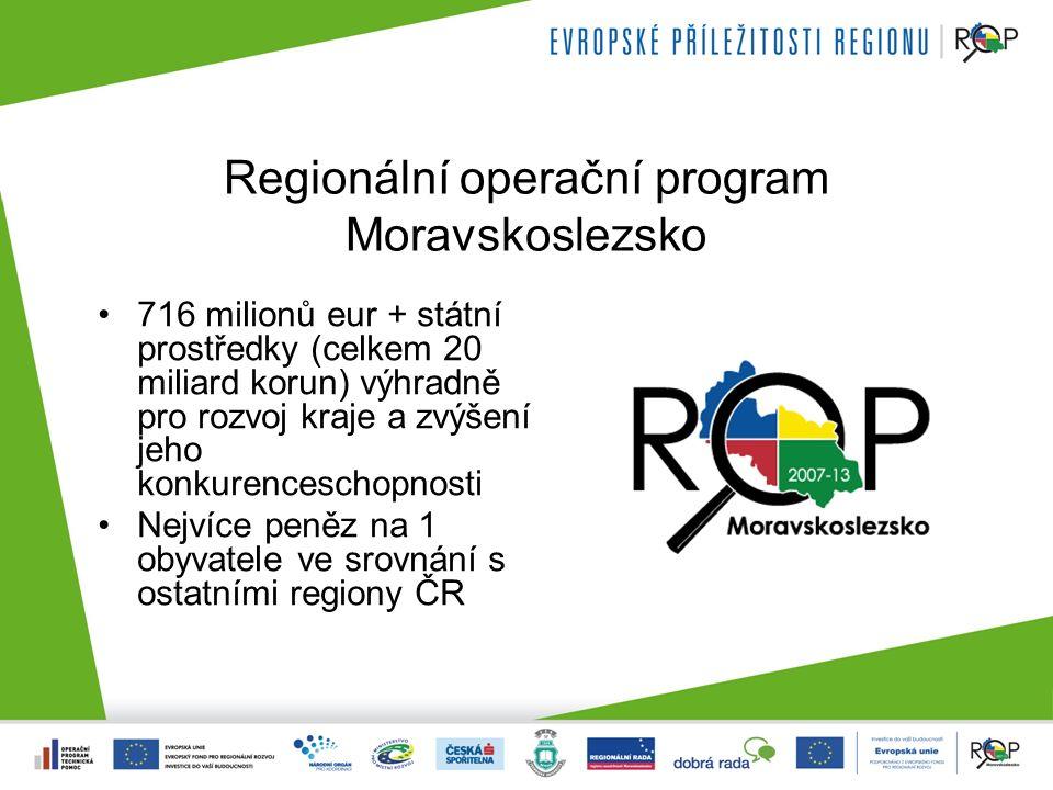 Regionální operační program Moravskoslezsko 716 milionů eur + státní prostředky (celkem 20 miliard korun) výhradně pro rozvoj kraje a zvýšení jeho konkurenceschopnosti Nejvíce peněz na 1 obyvatele ve srovnání s ostatními regiony ČR