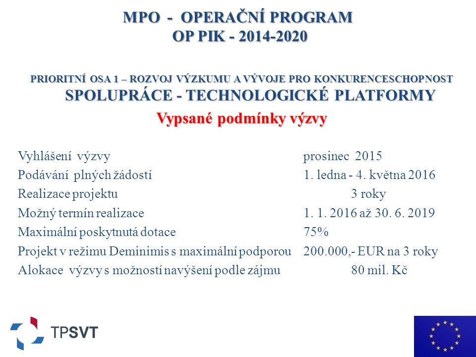 MPO - OPERAČNÍ PROGRAM OP PIK - 2014-2020 PRIORITNÍ OSA 1 – ROZVOJ VÝZKUMU A VÝVOJE PRO KONKURENCESCHOPNOST SPOLUPRÁCE - TECHNOLOGICKÉ PLATFORMY Vypsané podmínky výzvy Vyhlášení výzvy prosinec 2015 Podávání plných žádostí 1.