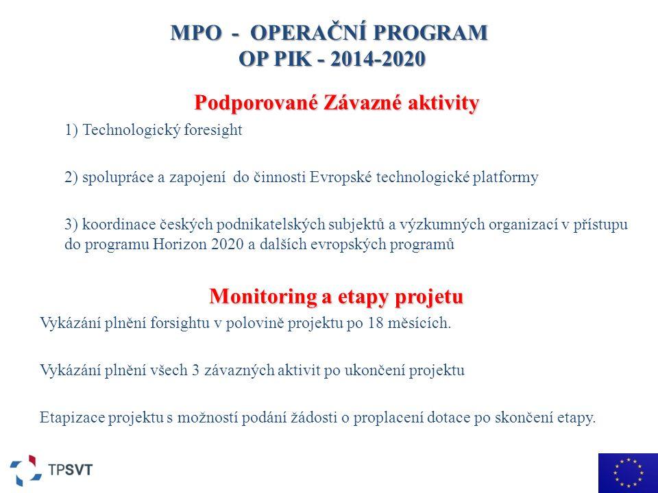MPO - OPERAČNÍ PROGRAM OP PIK - 2014-2020 Podporované Závazné aktivity 1) Technologický foresight 2) spolupráce a zapojení do činnosti Evropské technologické platformy 3) koordinace českých podnikatelských subjektů a výzkumných organizací v přístupu do programu Horizon 2020 a dalších evropských programů Monitoring a etapy projetu Vykázání plnění forsightu v polovině projektu po 18 měsících.