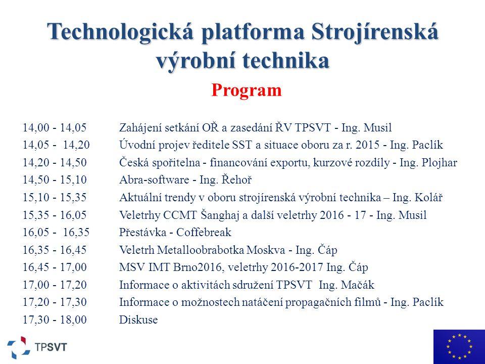 Technologická platforma Strojírenská výrobní technika Program 14,00 - 14,05 Zahájení setkání OŘ a zasedání ŘV TPSVT - Ing.