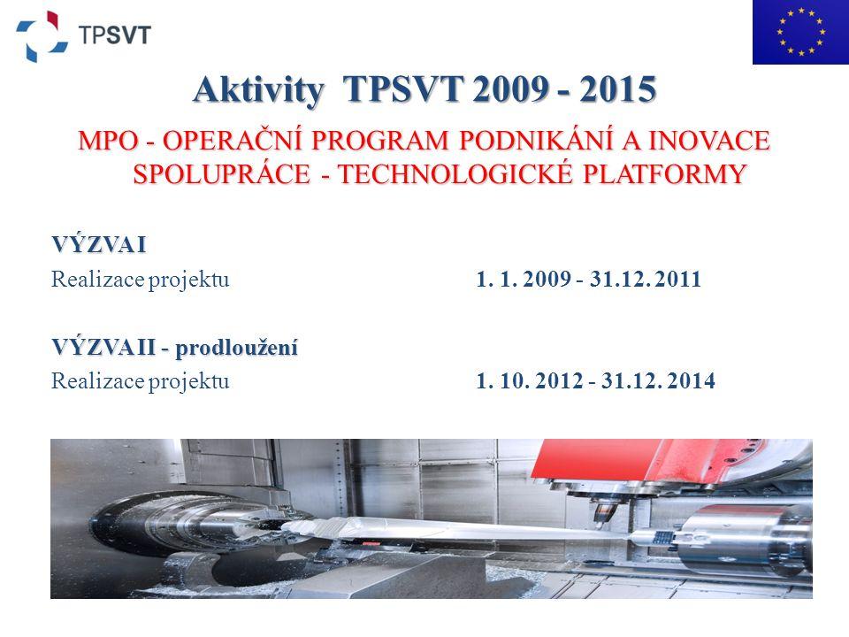 Aktivity TPSVT 2009 - 2015 MPO - OPERAČNÍ PROGRAM PODNIKÁNÍ A INOVACE SPOLUPRÁCE - TECHNOLOGICKÉ PLATFORMY VÝZVA I Realizace projektu1.