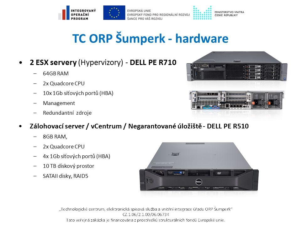 TC ORP Šumperk - hardware 2 ESX servery (Hypervizory) - DELL PE R710 –64GB RAM –2x Quadcore CPU –10x 1Gb síťových portů (HBA) –Management –Redundantní