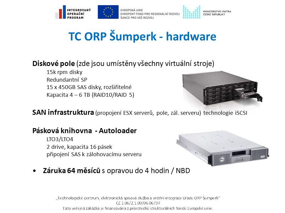 TC ORP Šumperk - hardware Diskové pole (zde jsou umístěny všechny virtuální stroje) 15k rpm disky Redundantní SP 15 x 450GB SAS disky, rozšiřitelné Ka
