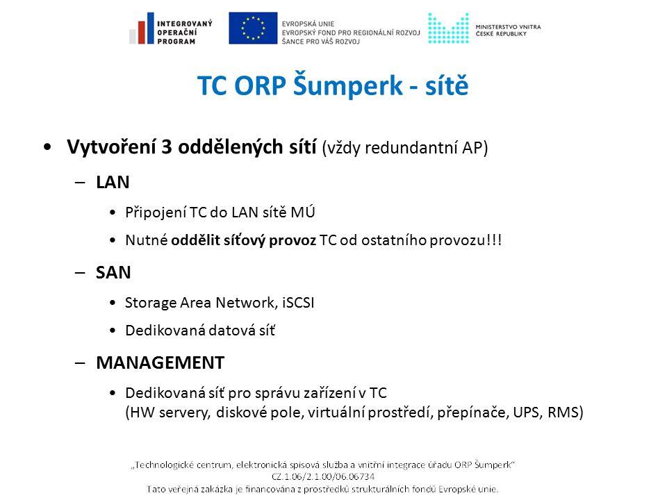 TC ORP Šumperk - sítě Vytvoření 3 oddělených sítí (vždy redundantní AP) –LAN Připojení TC do LAN sítě MÚ Nutné oddělit síťový provoz TC od ostatního p