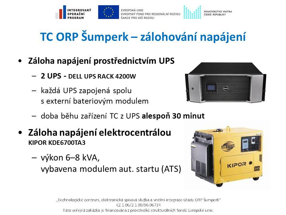 TC ORP Šumperk – zálohování napájení Záloha napájení prostřednictvím UPS –2 UPS - DELL UPS RACK 4200W –každá UPS zapojená spolu s externí bateriovým m