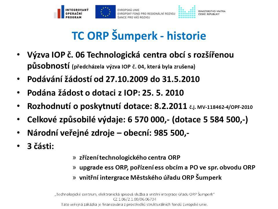 TC ORP Šumperk - historie Výzva IOP č. 06 Technologická centra obcí s rozšířenou působností (předcházela výzva IOP č. 04, která byla zrušena) Podávání